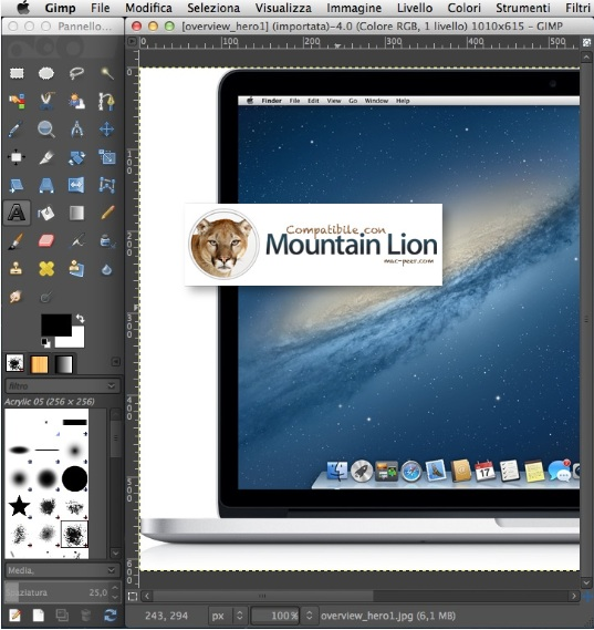 Mountain Lion Gimp per Mac
