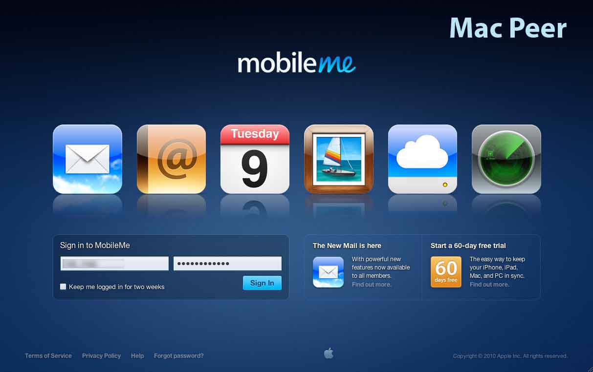 MobileMe: nuova interfaccia d'accesso al servizio.