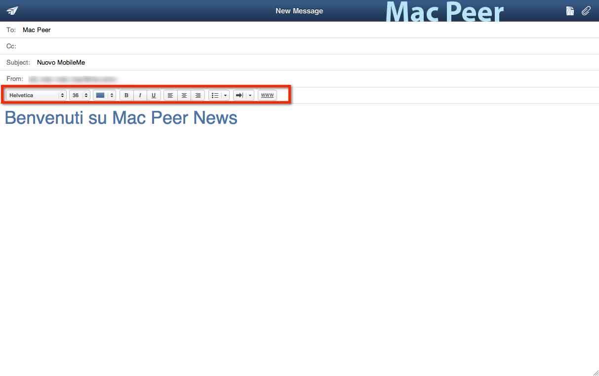 MobileMe Mail: barra di formattazione.