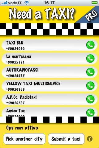 Comparirà l'elenco dei servizi taxi disponibili.