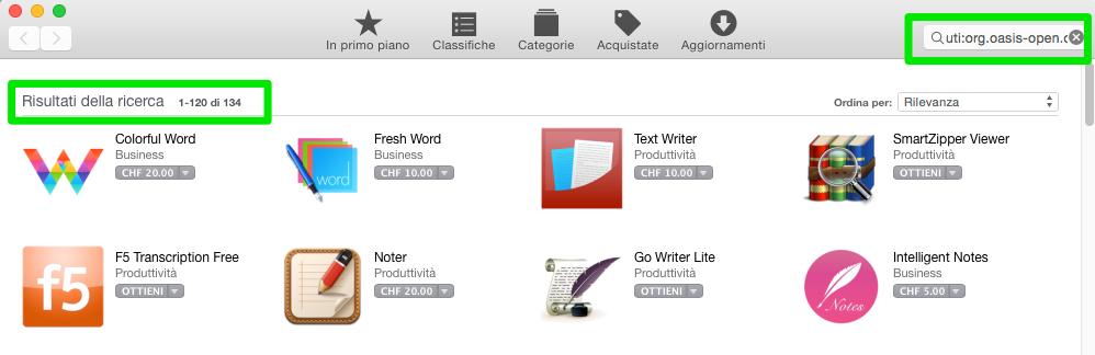 Ricerca Mac App Store