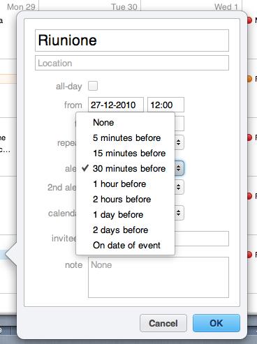 MobileMe Calendar: ora è possibile impostare gli avvisi di notifica eventi