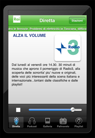 Radio rai in diretta con iphone e ipad mac peer forum for Diretta streaming parlamento