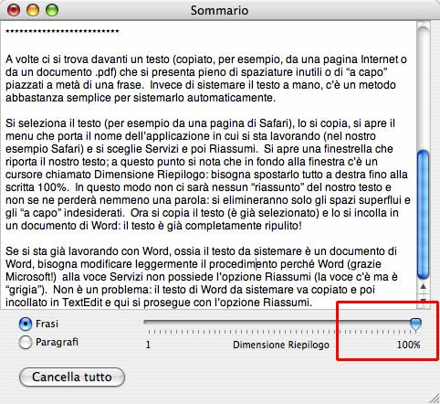 Mac tip ripulire un testo - Testo la finestra negramaro ...